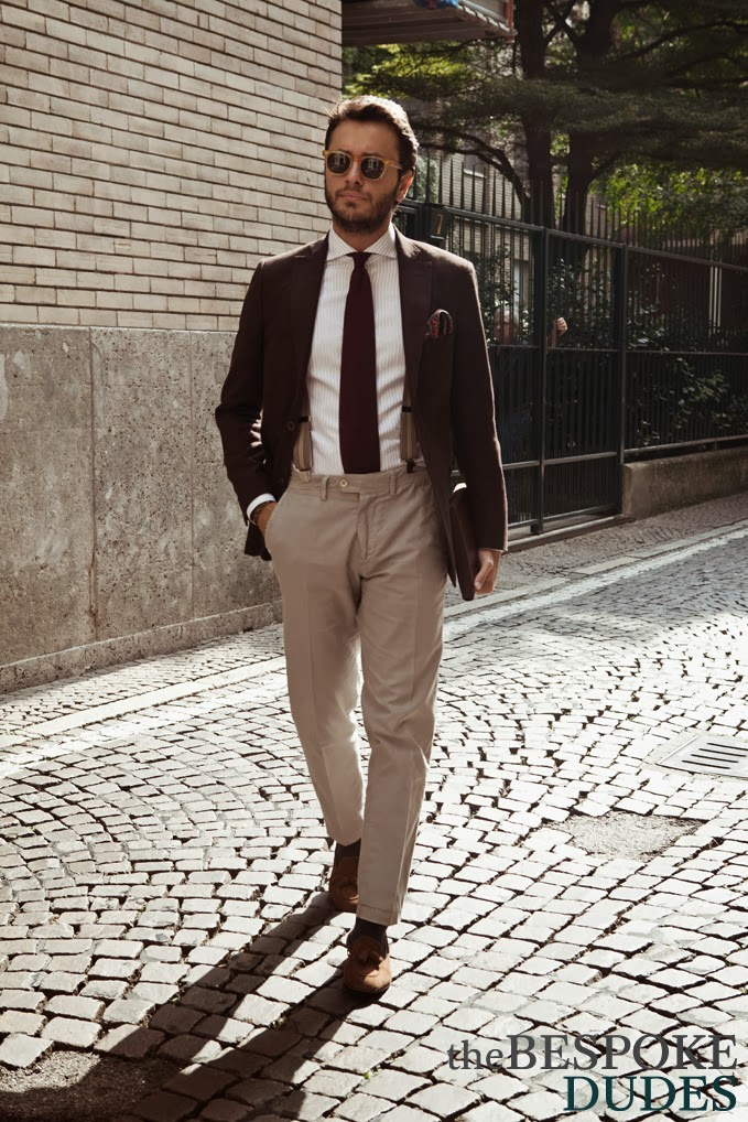 Tucked Grenadine & Beige Suspenders