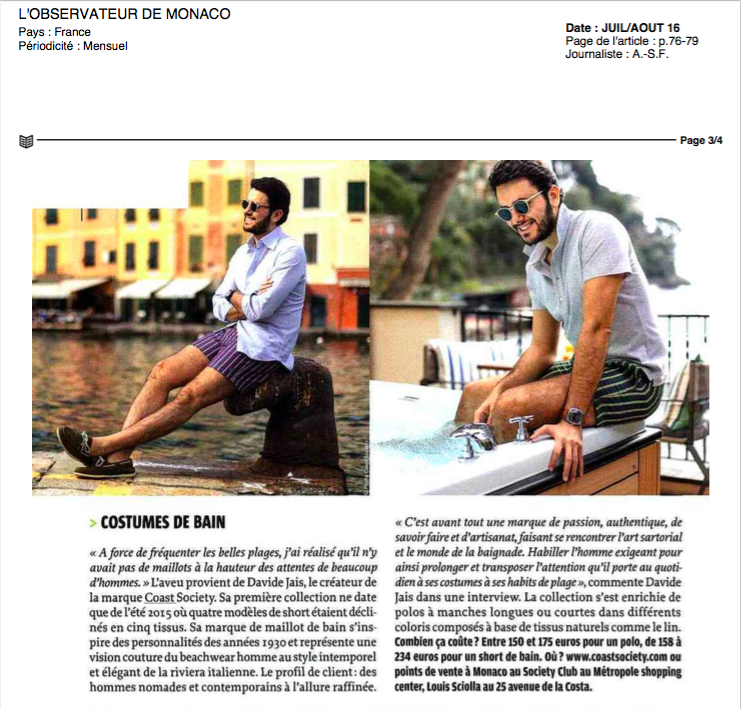 L'Observateur de Monaco The highest expression of sartorial swimwear
