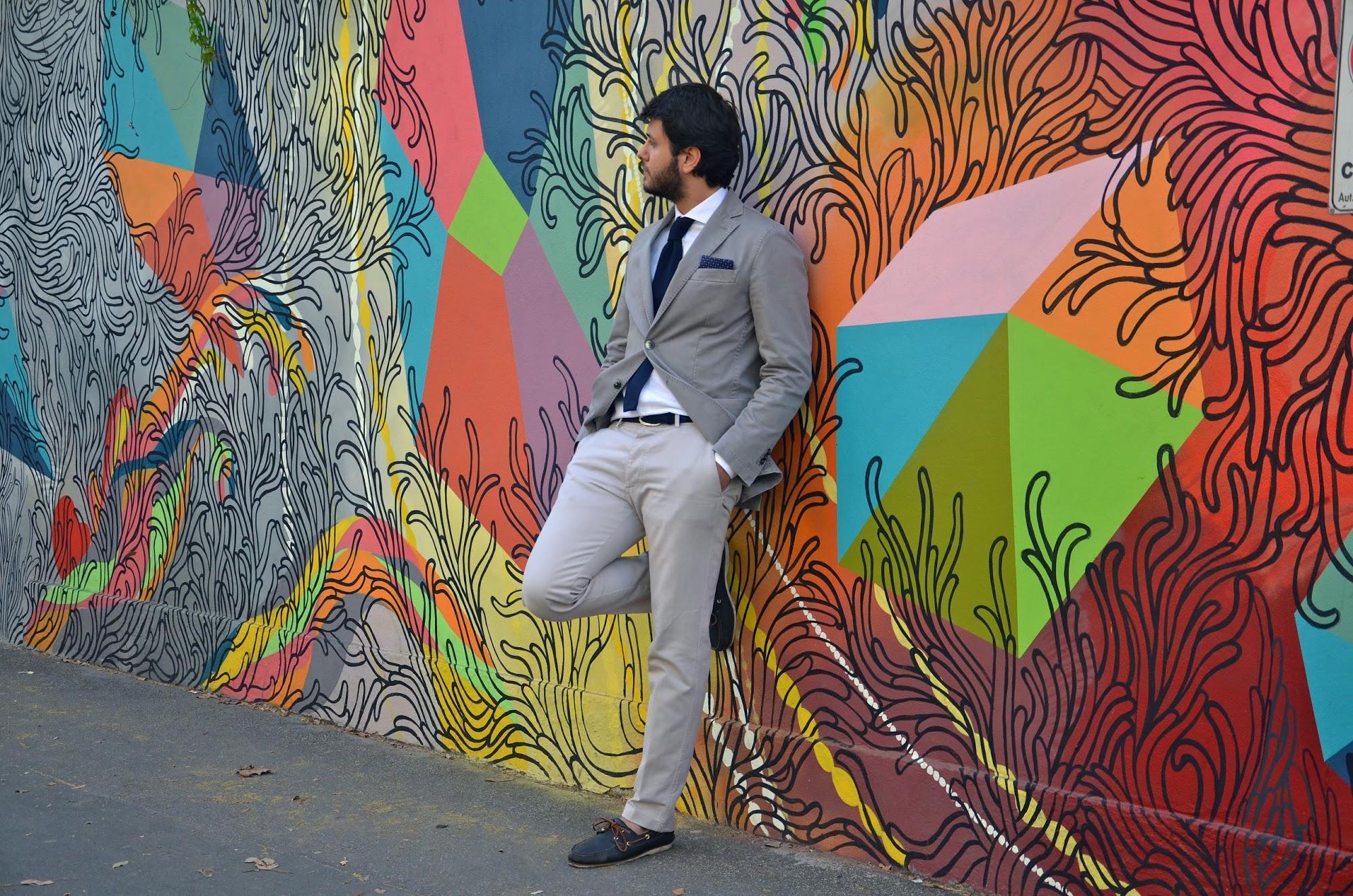 Grey Blazer & Navy Blue Knit Tie