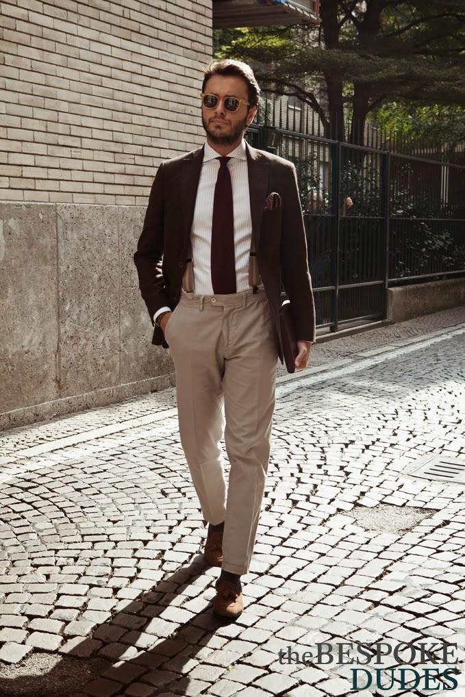 Tucked Grenadine & Beige Suspenders