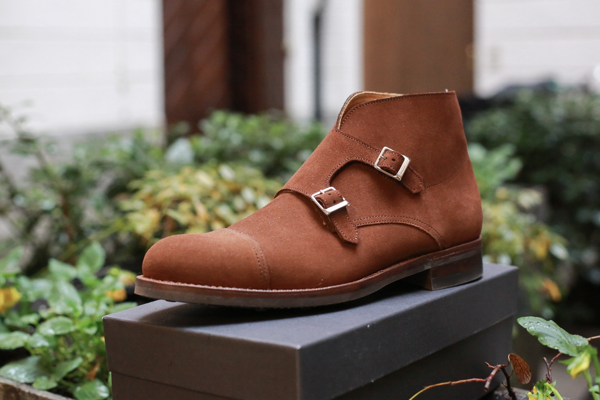 Review: Bow-Tie Double-Monks Ankle Boots Chestnut suede, Dainite sole and Goodyear comfort